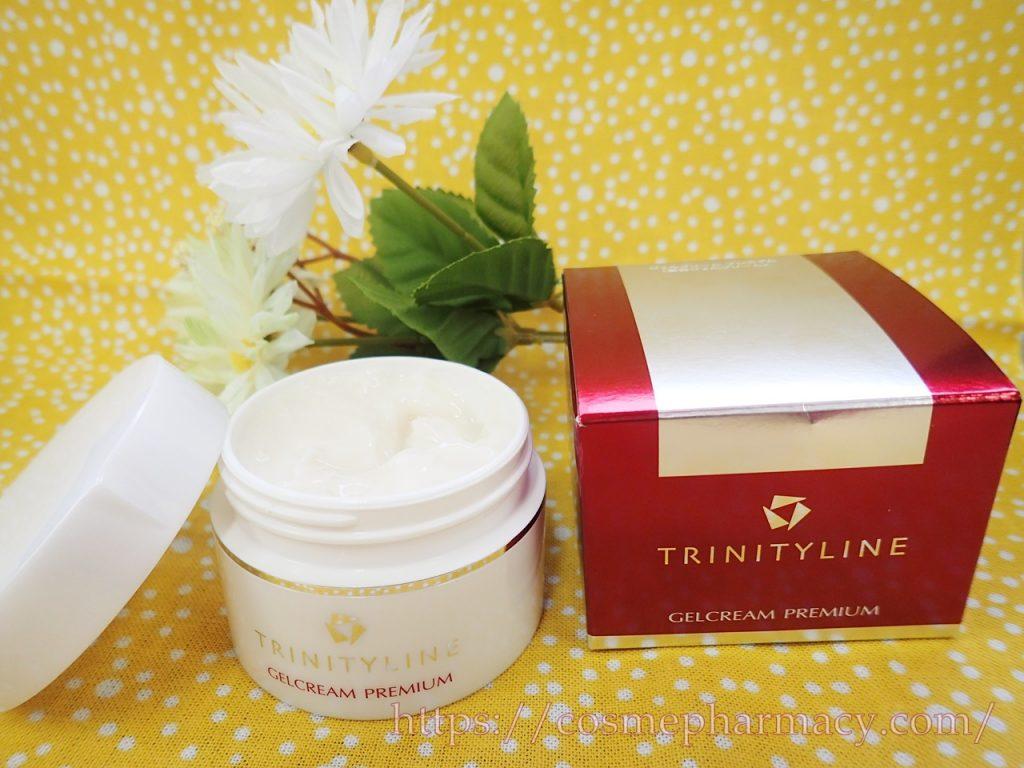 「トリニティーラインジェルクリームプレミアム」の口コミ!乾燥肌でもしっかりうるおうセラミド成分高配合のオールインワンゲル。